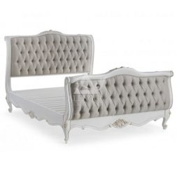 Button Upholstered French Style with High Footboard Queen Size Bed