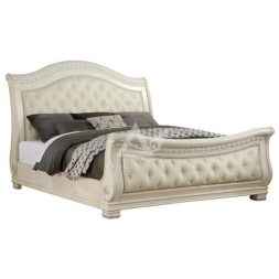 Upholstered French Style with High Footboard Queen Size Bed