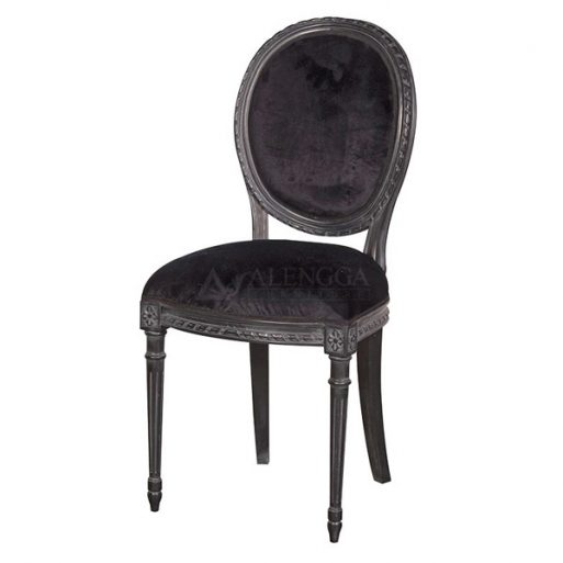 Mahogany French Style Black Painted Velvet Upholstery Dining Side Chair
