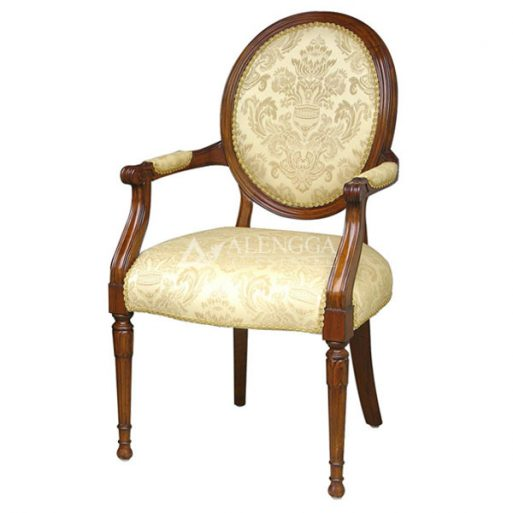 Mahogany Victorian Style Brown Upholstered Arm Dining Chair