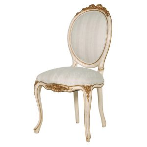 Mahogany French Style White Gold Upholstery Side Dining Chair