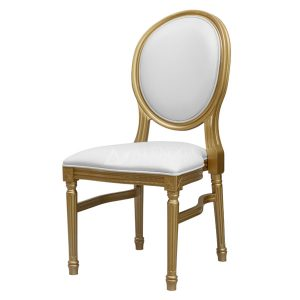 Mahogany French Style Gold White Round Back Side Dining Chair
