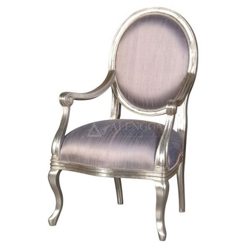 Mahogany French Style Silver Leaf Silk Upholstery Arm Dining Chair