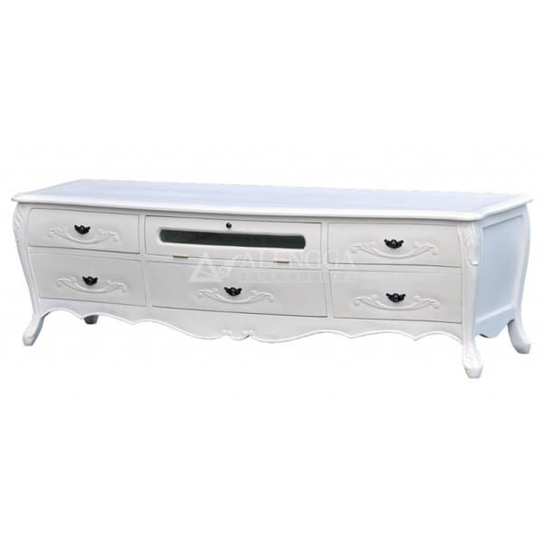Mahogany French Style 5 Drawers Antique White TV Cabinet