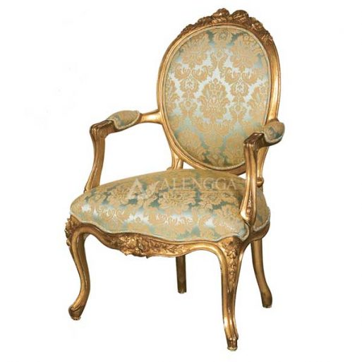 Mahogany French Style Gold Leaf Upholstered Dining Arm Chair