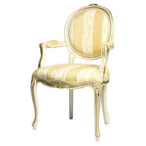 Mahogany French Style White Gold Upholstered Arm Dining Chair