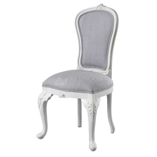 Mahogany French Style Antique White Upholstered Dining Armless Chair