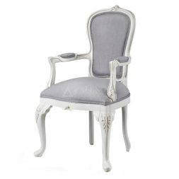 Mahogany French Style Antique White Upholstered Dining Arm Chair