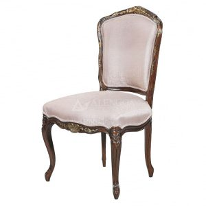 Mahogany French Style Dark Brown Upholstered Dining Side Chair