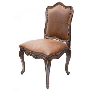 Mahogany French Style Antique Brown Upholstered Side Dining Chair