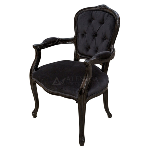 Mahogany French Style Black Velvet Upholstered Dining Arm Chair