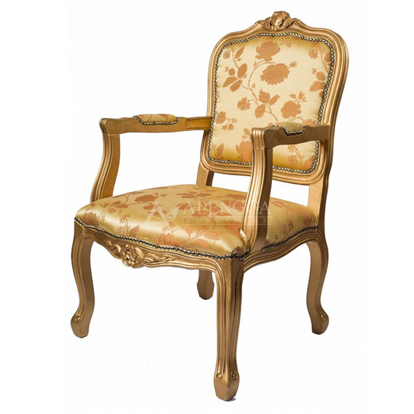 Mahogany French Style Gold Floral Upholstered Arm Dining Chair