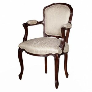 Mahogany French Style Dark Brown Upholstered Dining Arm Chair