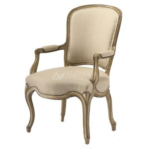Mahogany French Style Antique Gold Upholstered Dining Arm Chair