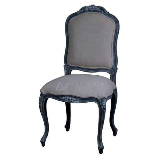 Mahogany French Style Antique Painted Upholstered Side Dining Chair