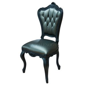 Mahogany French Victorian Style Black Upholstered Dinning Side Chair