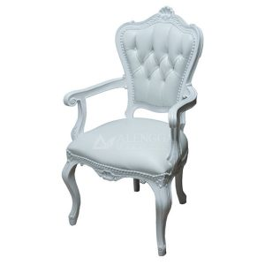 Mahogany French Victorian Style Ivory Upholstered Dinning Arm Chair