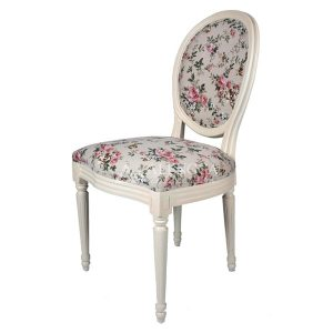 Mahogany French Style Antique White Upholstered Side Dining Chair