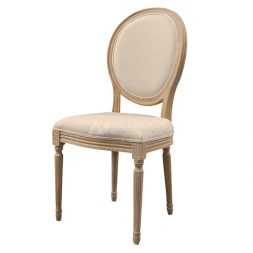 Teak Wood French Style Antique Glaze Upholstered Side Dining Chair