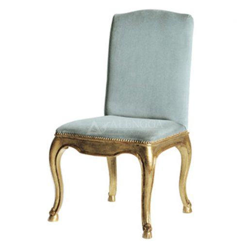 Mahogany French Style Gold Upholstered Side Dining Chair
