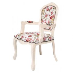 Mahogany French Style Antique White Upholstered Arm Dining Chair
