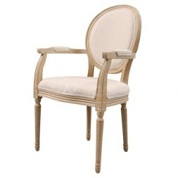 Teak Wood French Style Antique Glaze Upholstered Arm Dining Chair