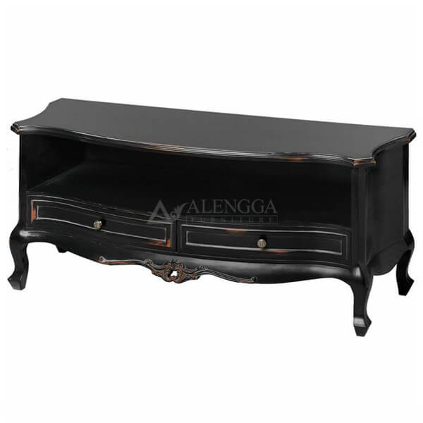 Mahogany French Style Black 2 Drawer TV Cabinet