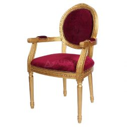 Mahogany French Style Gold Red Velvet Upholstered Dining Arm Chair