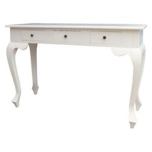 Mahogany French Style Antique White Three Drawers Hall Console Table
