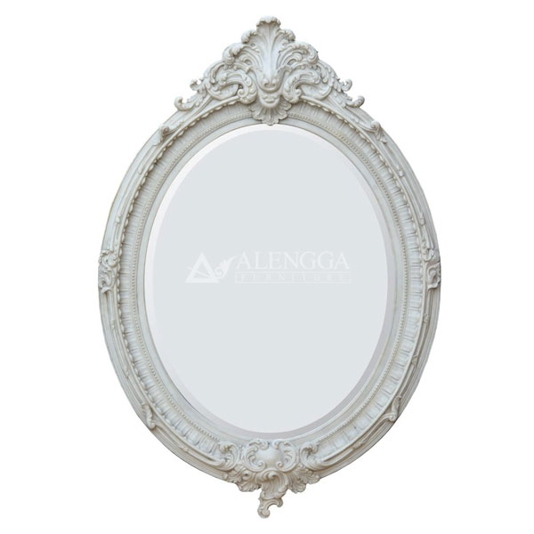 Mahogany French Style Ivory Hand Carved Ornamented Oval Wall Mirror