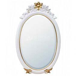 Mahogany French Style White Gold Painted Oval Decorative Wall Mirror