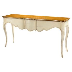 Mahogany French Style Antique White Three Drawers Console Table