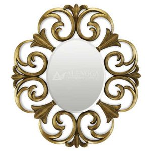 Mahogany French Style Antique Gold Hand Carved Decorative Oval Mirror