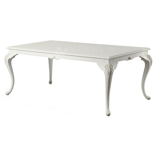 Mahogany French Style Antique White Hand Carved Standard Dining Table
