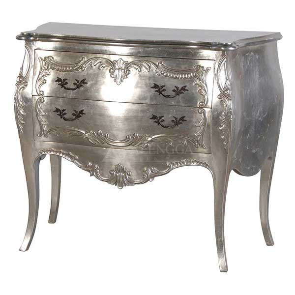 Mahogany French Style Silver Chest of Two Drawers