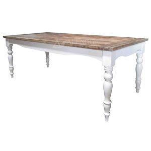 Mahogany French Style Natural and White Legs Rectangular Dining Table