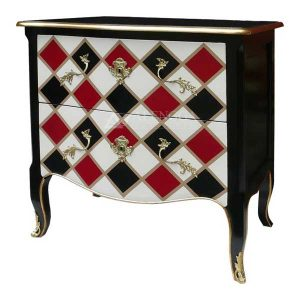 Mahogany French Style Black Painted Chest of Two Drawers Commode