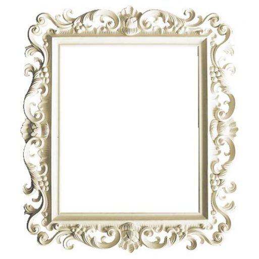 Mahogany French Style Antique White Hand Carved Square Wall Mirror