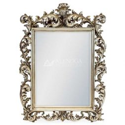 Mahogany Rococo Style Silver Leaf Hand Carved Square Wall Mirror