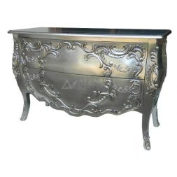 Mahogany French Style Silver Leaf Chest of Two Drawers Commode