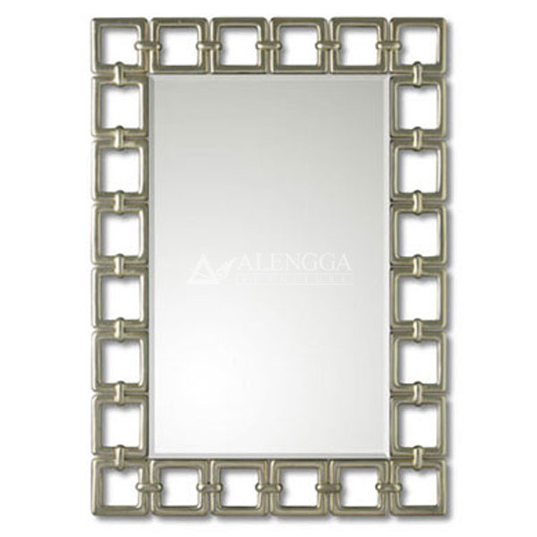Mahogany French Style Antique Silver Decorative Rectangular Wall Mirror
