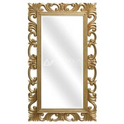 Mahogany French Style Antique Gold Ornamented Rectangular Wall Mirror