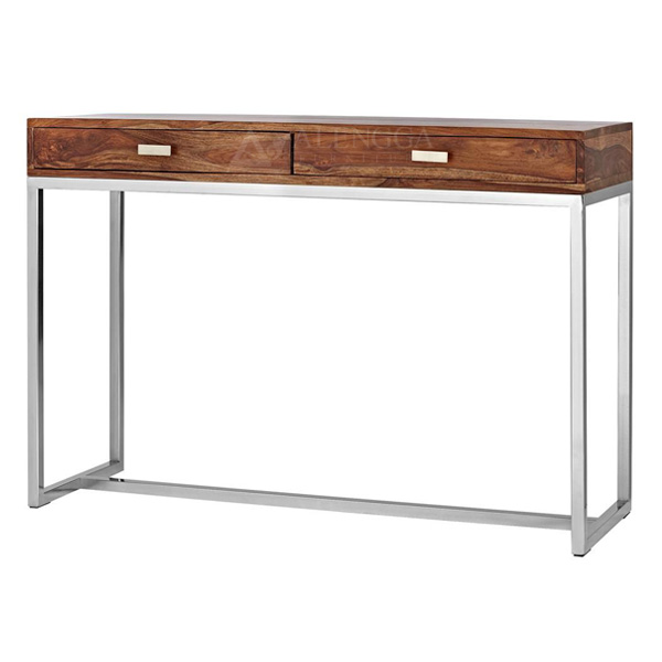 Teak Wood Industrial Style Stainless Steel Frame Leg Console Table