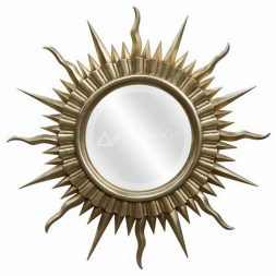 Mahogany French Style Antique Gold Hand Carved Round Sun Mirror