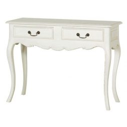 Mahogany French Style Antique White Two Drawers Console Table