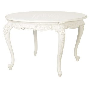 Mahogany French Style Antique White Hand Carved Round Dining Table
