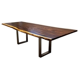 Suar Slab Wood Industrial Steel Frame Style Natural Pattern Dining Table