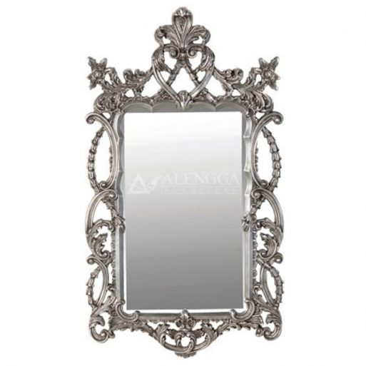 Mahogany Rococo Style Silver Leaf Hand Carved Rectangular Wall Mirror