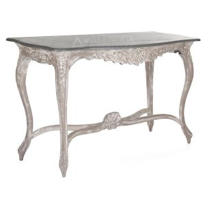 Mahogany French Style Antique White Wash Hand Carved Console Table