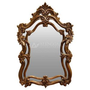 Mahogany French Style Antique Gold Hand Carved Decorative Wall Mirror